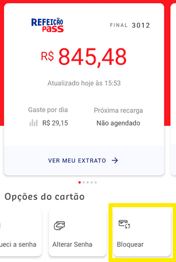 Faça o bloqueio do cartão por perda ou roubo no app da Sodexo
