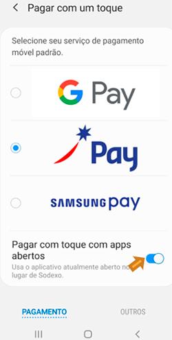 Selecione Sodexo como modo de pagamento padrão do Android