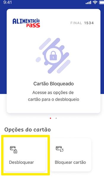 Desbloqueio de cartão direto no app da Sodexo