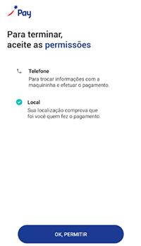 Para pagamento sem contato no app Sodexo, aceite as permissões