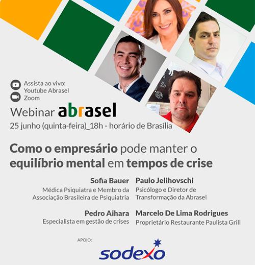 Webinar Abrasel sobre saúde mental de empreendedores tem apoio da Sodexo