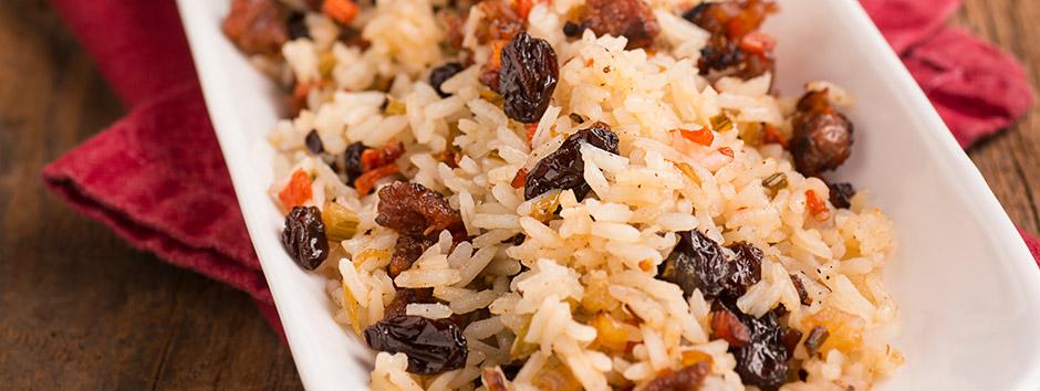 Duas opções de receita de arroz para o natal