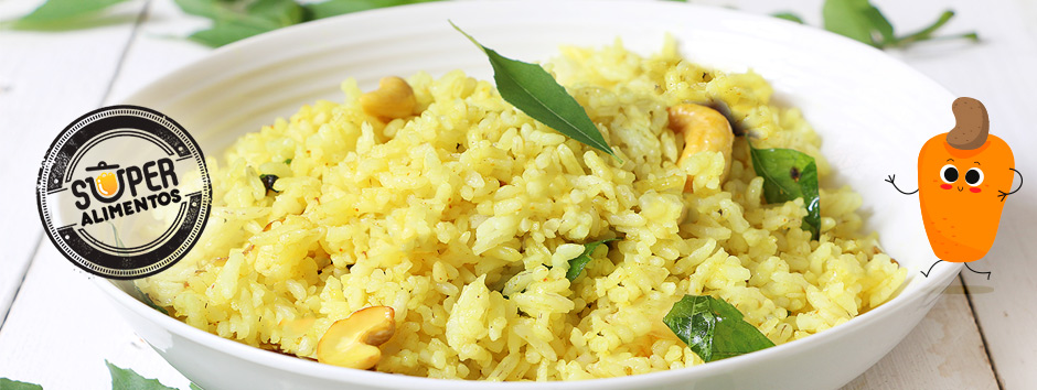 Receita de arroz com fibras de caju