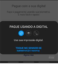 Use sua impressão digital para o pagamento
