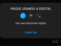 Confirmação de que o app sodexo é um modo de pagamento no seu celular